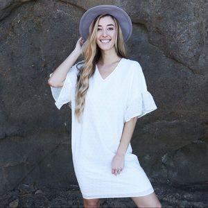 Dresses & Skirts - white eyelet shift dress